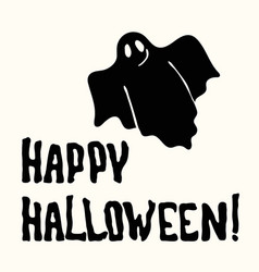 Happy halloween title and ghost on the white vector