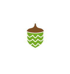 Hazelnut dry fruit food seed logo design vector