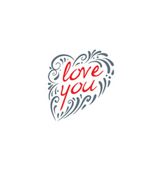heart and the inscription i love you vector image