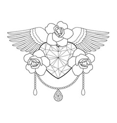 Heart roses and wings outline coloring vector