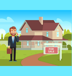 house for sale realtor shows residential building vector image