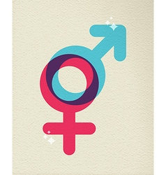 Human gender symbol colorful of male female vector image