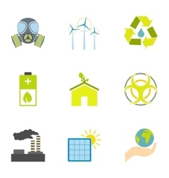 Kind of energy icons set flat style vector