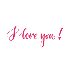 Lettering i love you pink background vector