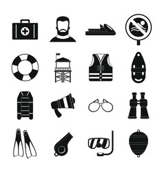 Lifeguard save icons set simple style vector
