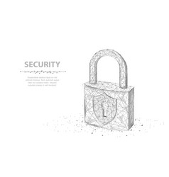Lock abstract 3d wireframe lock isolated on white vector