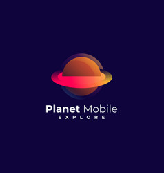 logo planet media gradient colorful vector image
