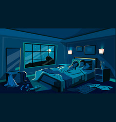 Lovers sleep in bedroom bed vector