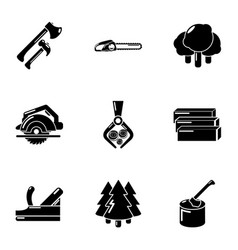 Lumberman icons set simple style vector