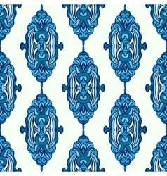 Luxury Damask seamless pattern blue background vector image