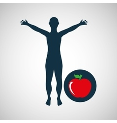 Man silhouette apple health design vector