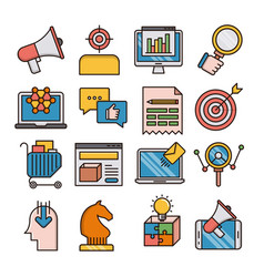 Marketing filled outline icons vector
