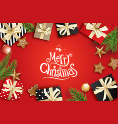 merry christmas greeting card frame on red vector image