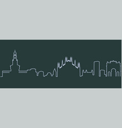 Milan single line skyline vector