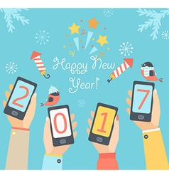 Mobile New Year 2017 vector image