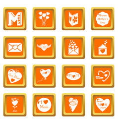 mother day icons set orange square vector image