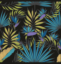 Night tropics seamless handmade pattern vector