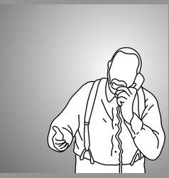 old man with suspenders or braces using phone vector image