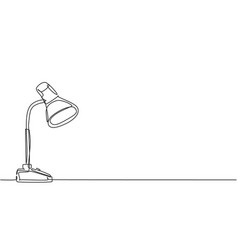 One single line drawing desk lamp for home vector