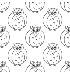 Outline owls retro seamless pattern vector