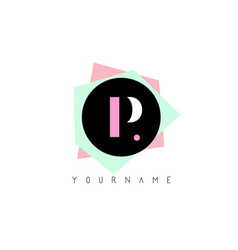 p geometric shapes logo design with pastel colors vector image