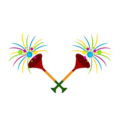 pair of party trumpets icon vector image