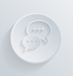 paper flat circle icon cloud of speaking dialogue vector image