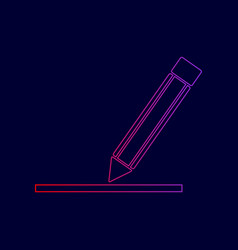 pencil sign line icon with vector image