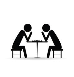 people chess symbol black vector image