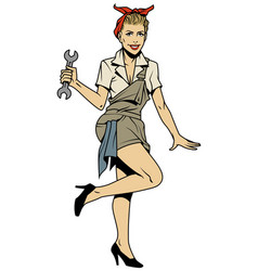 pin up mechanic girl vector image