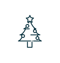 pine tree happy christmas line icon vector image