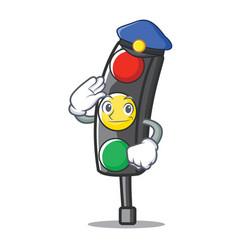 Police traffic light character cartoon vector