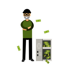 professional burglar character in a mask opened a vector image