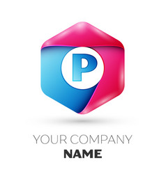 Realistic letter p in colorful hexagonal vector