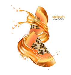 realistic papaya juice splash slice vector image vector image