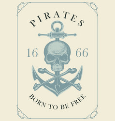 retro pirate banner with skull bones and anchor vector image
