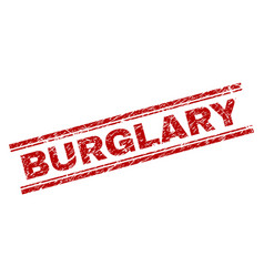 Scratched textured burglary stamp seal vector