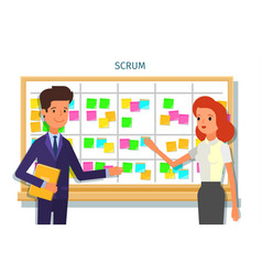 scrum task board whith sticky note cards vector image
