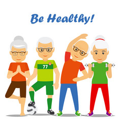 Senior age couples healthy concept vector