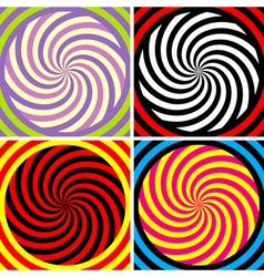 Set four bright hypnotic poster vector