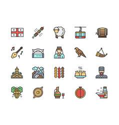 set georgian culture flat color line icons vector image