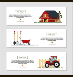 Set of horizontal banners for farm desing with vector