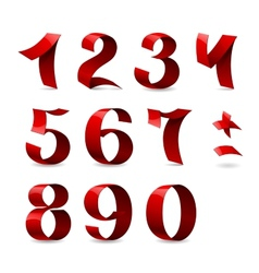 Set of isolated red ribbon numbers on white vector image