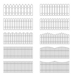 set of outlines of fences vector image