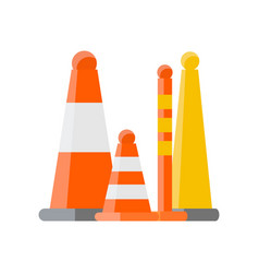 several orange cones and various types of road vector image