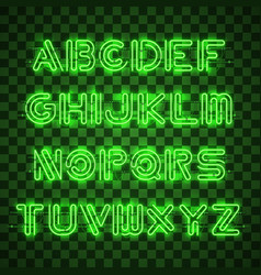 Shining and glowing green neon alphabet and digits vector