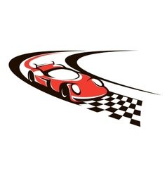 Speeding racing car crossing finish line vector