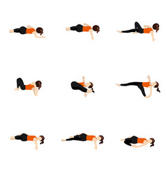 Spinal twist and shoulder stretching yoga asanas vector