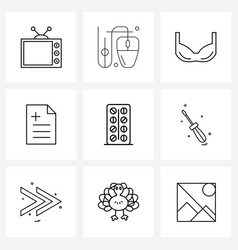 Stock icon set 9 line symbols for tablet vector