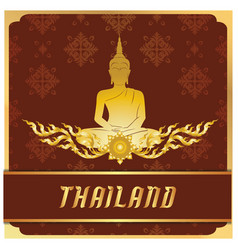 Thailand buddha statue thai design red background vector